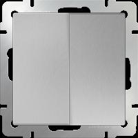 WL06-SW-2G-2W / Выключатель двухклавишный проходной (серебряный) a029823