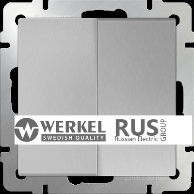 WL06-SW-2G-2W / Выключатель двухклавишный проходной (серебряный)