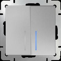 WL06-SW-2G-LED / Выключатель двухклавишный с подсветкой (серебряный) a029826