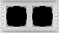 WL07-Frame-02 / Рамка Antik на 2 поста (Жемчужный)