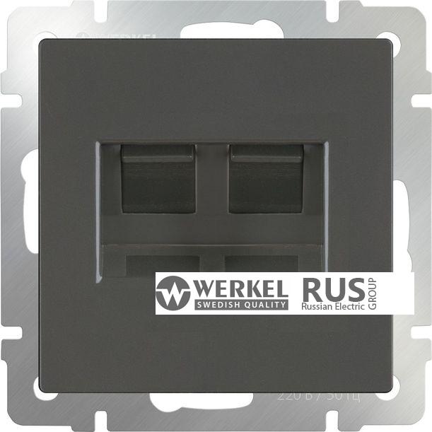 WL07-RJ11+RJ45 / Розетка телефонная RJ-11 и Еthernet RJ-45 (серо-коричневый)