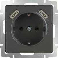 WL07-SKGS-USBx2-IP20 / Розетка с заземлением, шторками и USB х2 (Серо-коричневый)