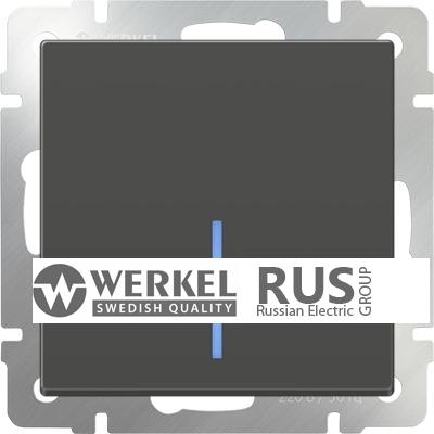 WL07-SW-1G-2W-LED / Выключатель одноклавишный проходной с подсветкой (серо-коричневый)