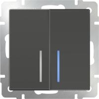 WL07-SW-2G-2W-LED / Выключатель двухклавишный проходной с подсветкой (серо-коричневый)