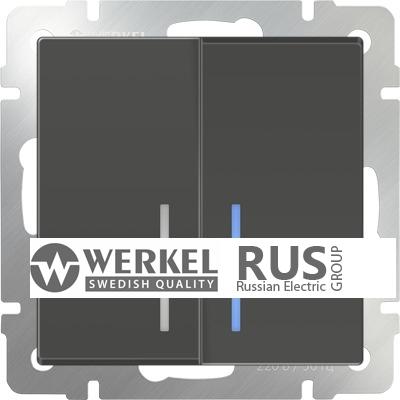WL07-SW-2G-2W-LED / Выключатель двухклавишный проходной с подсветкой (серо-коричневый) a035911