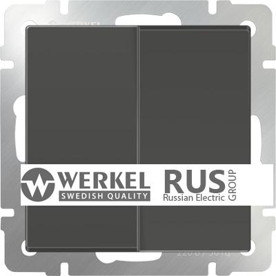 WL07-SW-2G-2W / Выключатель двухклавишный проходной (серо-коричневый)