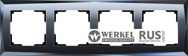 WL08-Frame-04 / Рамка Diamant на 4 поста (Черный)
