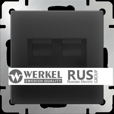 WL08-RJ11+RJ45 / Розетка телефонная RJ-11 и Еthernet RJ-45 (черный матовый)