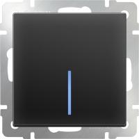 WL08-SW-1G-2W-LED / Выключатель одноклавишный проходной с подсветкой (черный матовый)
