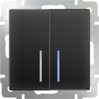 WL08-SW-2G-2W-LED / Выключатель двухклавишный проходной с подсветкой (черный матовый)