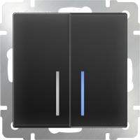 WL08-SW-2G-LED / Выключатель двухклавишный с подсветкой (черный матовый)