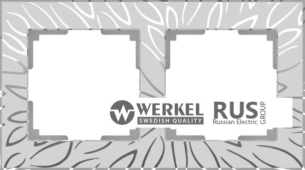 WL09-Frame-02 / Рамка Edel на 2 поста (серебряный)
