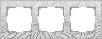 WL09-Frame-03 / Рамка Edel на 3 поста (серебряный)