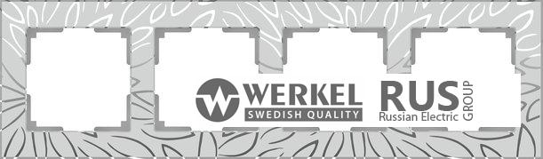 WL09-Frame-04 / Рамка Edel на 4 поста (серебряный)