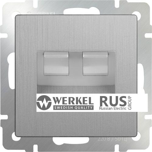 WL09-RJ11+RJ45 / Розетка телефонная RJ-11 и Еthernet RJ-45 (серебряный рифленый)