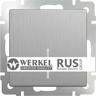 WL09-SW-1G-2W-LED / Выключатель одноклавишный проходной с подсветкой (серебряный рифленый)