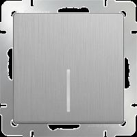 WL09-SW-1G-LED / Выключатель одноклавишный с подсветкой (серебряный рифленый) a035654
