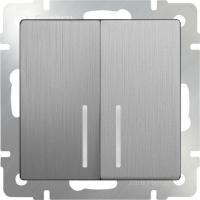 WL09-SW-2G-2W-LED / Выключатель двухклавишный проходной с подсветкой (серебряный рифленый) a035657