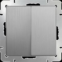WL09-SW-2G / Выключатель двухклавишный (серебряный рифленый)