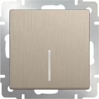 WL10-SW-1G-LED / Выключатель одноклавишный с подсветкой (шампань рифленый)