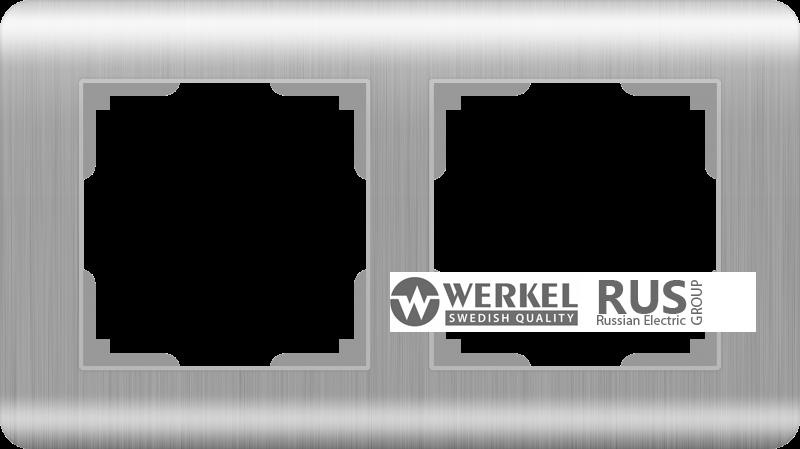 Рамка Werkel Stream на 2 поста WL12-Frame-02 Серебряный