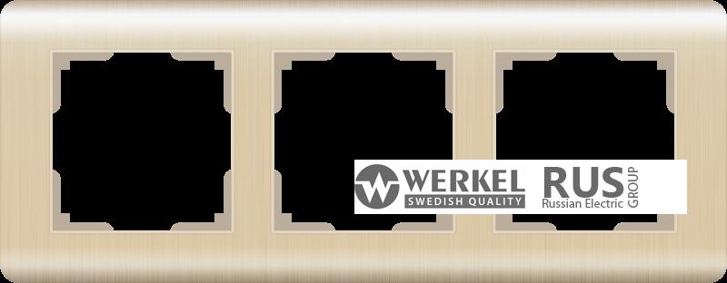 Рамка Werkel Stream на 3 поста WL12-Frame-03 Шампань